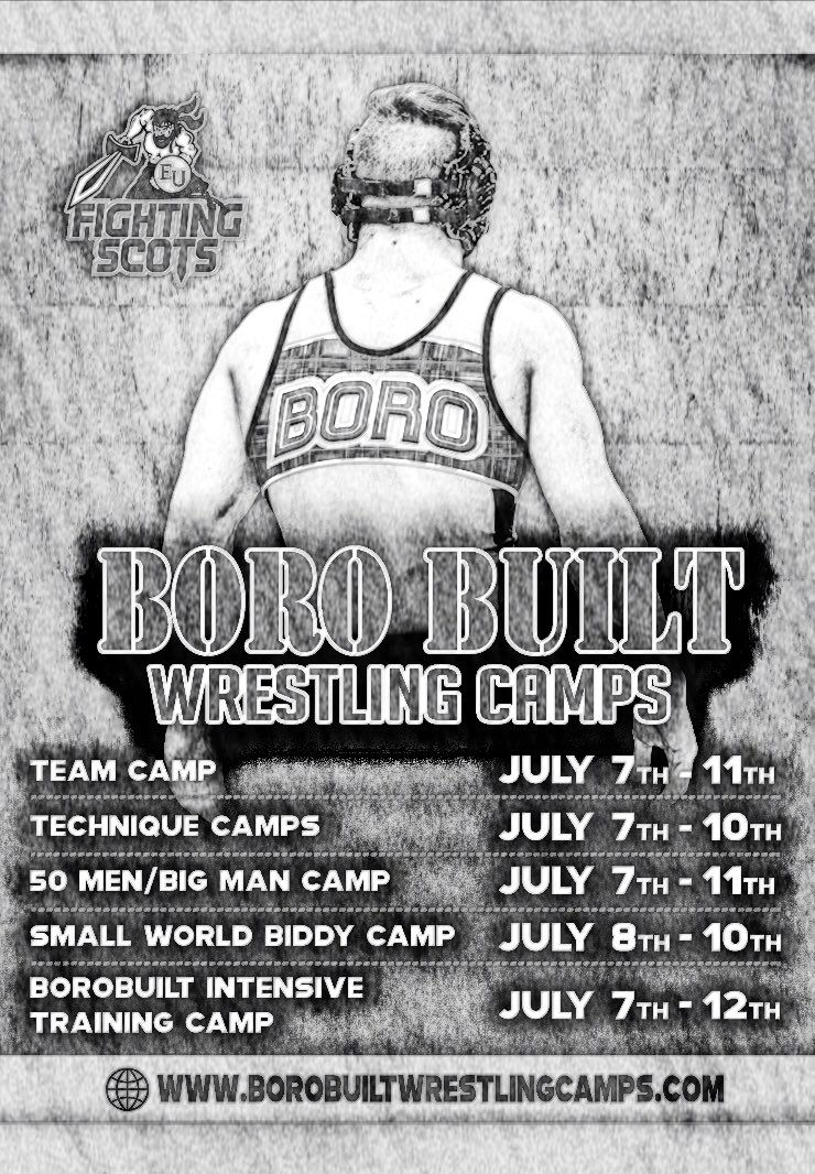 Summer is almost here folks, so be sure to sign up for The Boro Built Wrestling Camps happening this July  . Please visit:  http://www. borobuiltwrestlingcamps.com     #SummerTraining #BoroBuilt<br>http://pic.twitter.com/9DUMpld6WQ