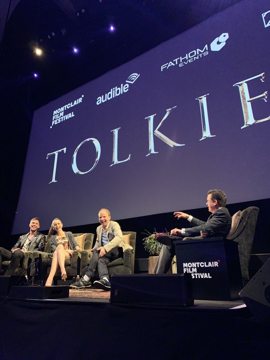 """Our Q&A for @tolkienmovie was streamed out to 400+ theaters across the country, featuring @stephenathome @lilycollins @NicholasHoult @domekarukoski! """"The biggest audience ever for the Montclair Film Festival!"""" — Tom Hall @BRM @foxsearchlight + @fathomevents"""