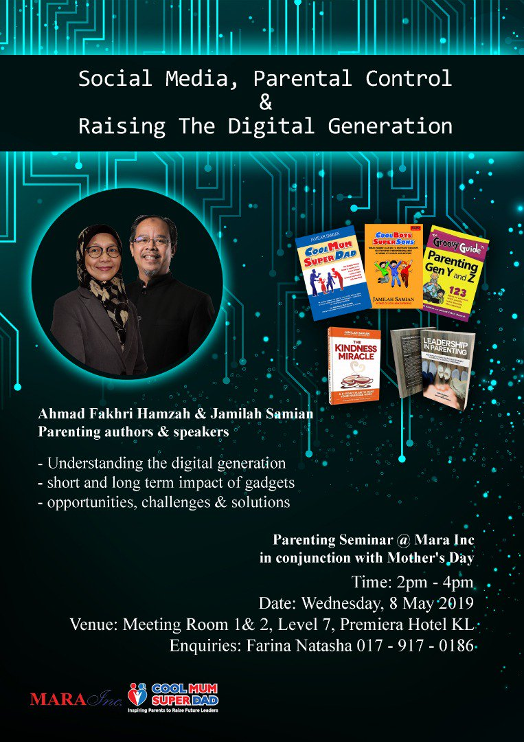 Social Media, Parental Control & The Digital Generation. Today at Premiera Hotel. Open to Mara Inc staff.  #LeadershipInParenting #CoolMumSuperDad http://www.coolmumsuperdad.com