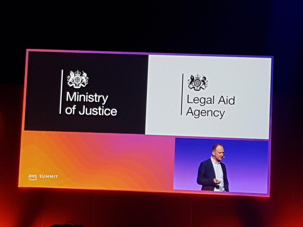 woo hoo! our very own CDIO @thommeread giving a key note speech at the #AWSSummitLondon. smashing it @Justice_Digital https://t.co/N3BVn79rDs