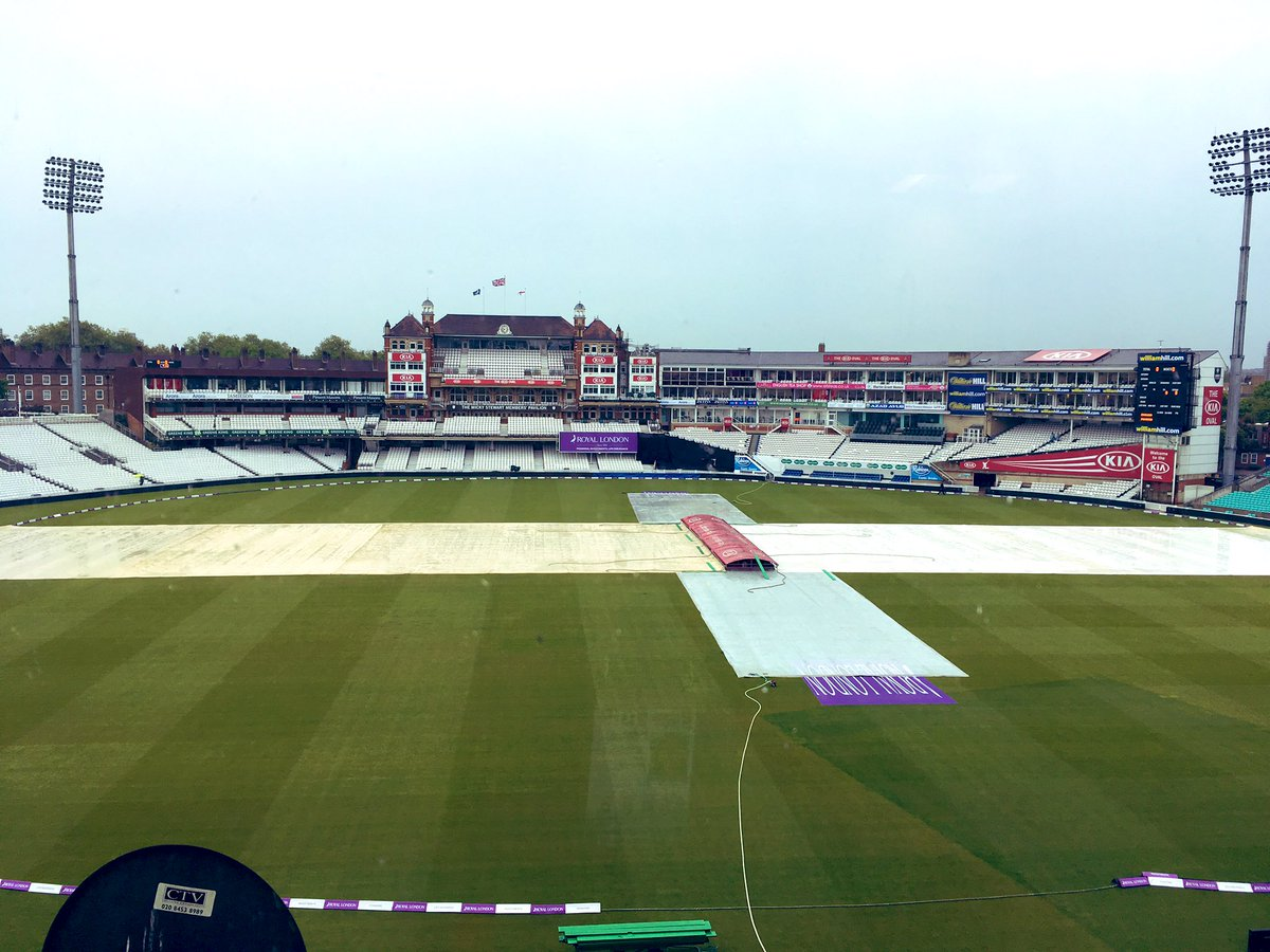 View from our commentary box at the Oval. It's a bit wet out there, but we're told it should clear up in the next hour or so. Then we'll just need to dodge some afternoon showers! Fingers crossed 🤞 Whatever the weather @bbctms will be on air 1245. #bbccricket #ENGvPAK