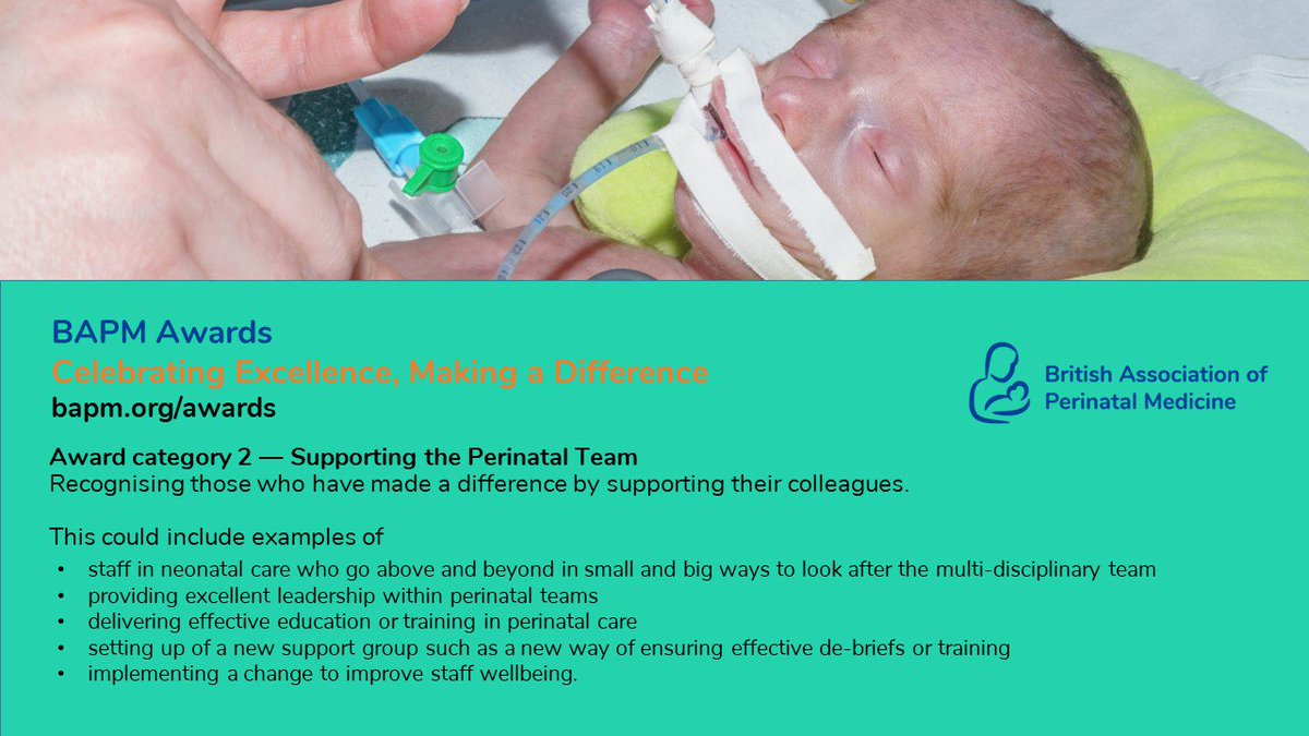 Why not nominate a colleague for a BAPM award? (Just ask them first if it's okay!) Awards Category 2 is Supporting the Perinatal Team. We want celebrate those who have made a difference by supporting their colleagues.  http://bapm.org/awards   @NNAP_RCPCH @NNAUK1 @BMFMSNews