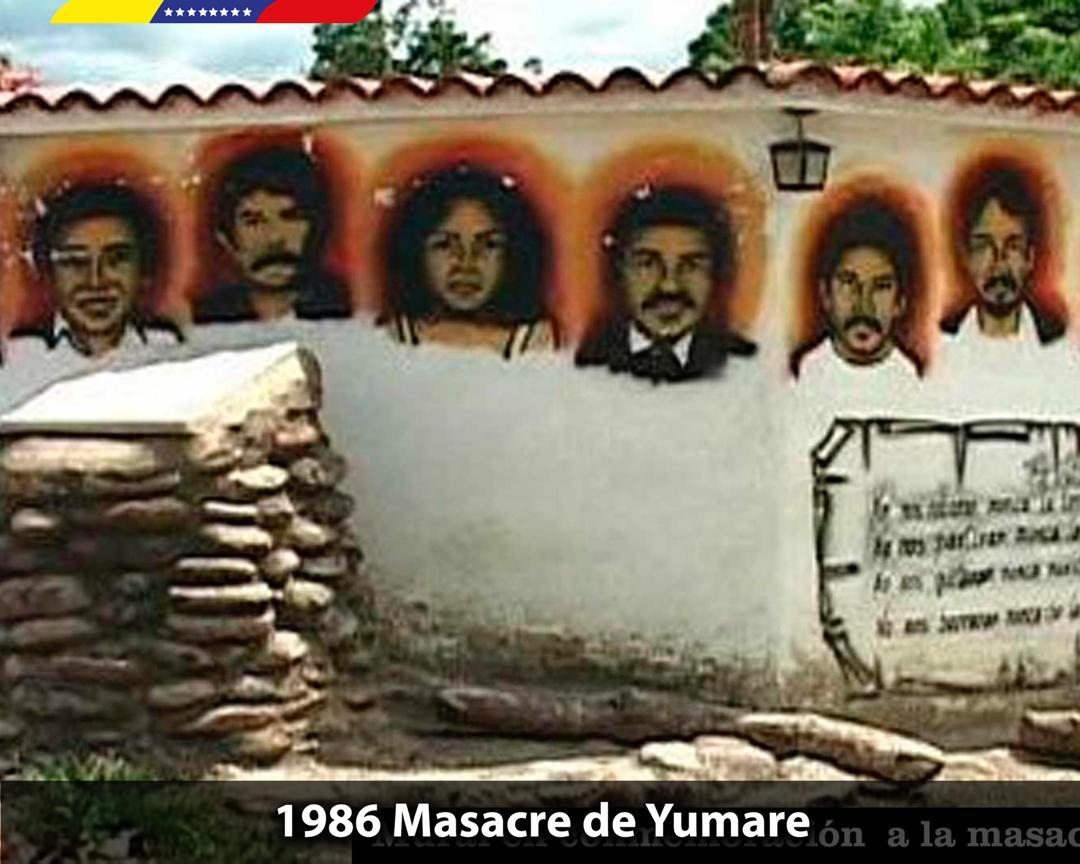 A 33 años de la Masacre de Yumare, recordamos el horrendo asesinato de nueve dirigentes sociales de izquierda que fueron víctimas del fascismo de los gobiernos de la IV República. Jamás permitiremos que el fascismo vuelva a someter por la fuerza al pueblo libre de Venezuela.
