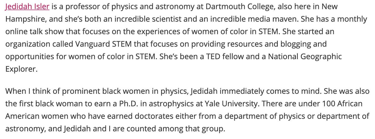 I got asked about who I think of as prominent Black women in physics and astronomy SO OF COURSE I HAD TO TALK ABOUT @JedidahIslerPhD -- both an incredible scientist and media maven. BOTH.  https://msmagazine.com/2019/05/07/why-chanda-prescod-weinstein-fuses-physics-with-black-feminism/…