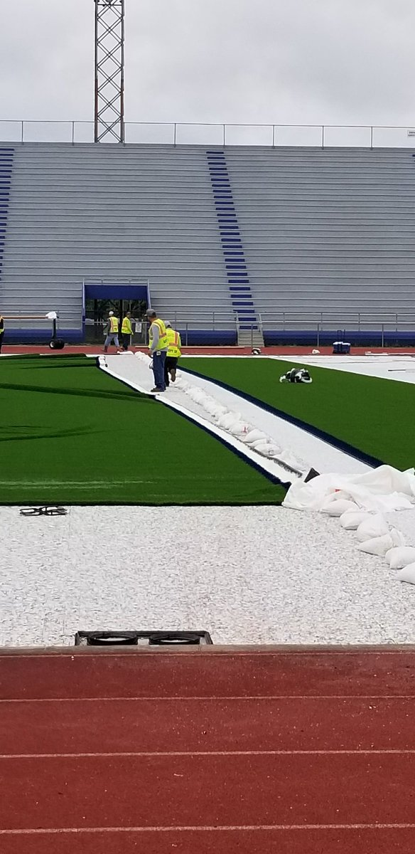 Laying out the 'Green Carpet' for them Mustangs #WOS @texashsfootball @karlito_2k9
