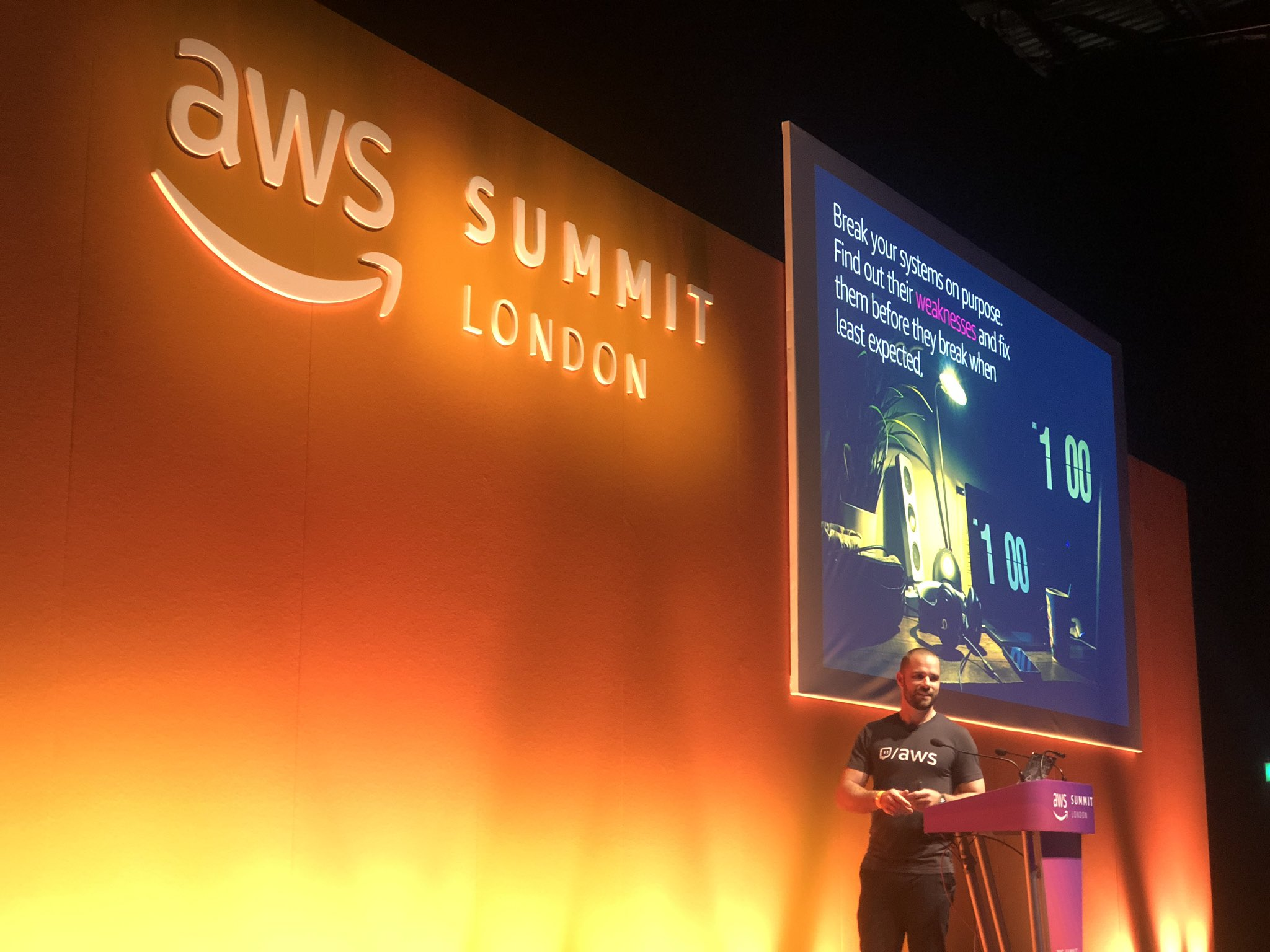 Adrian Horn presenting at AWS Summit London