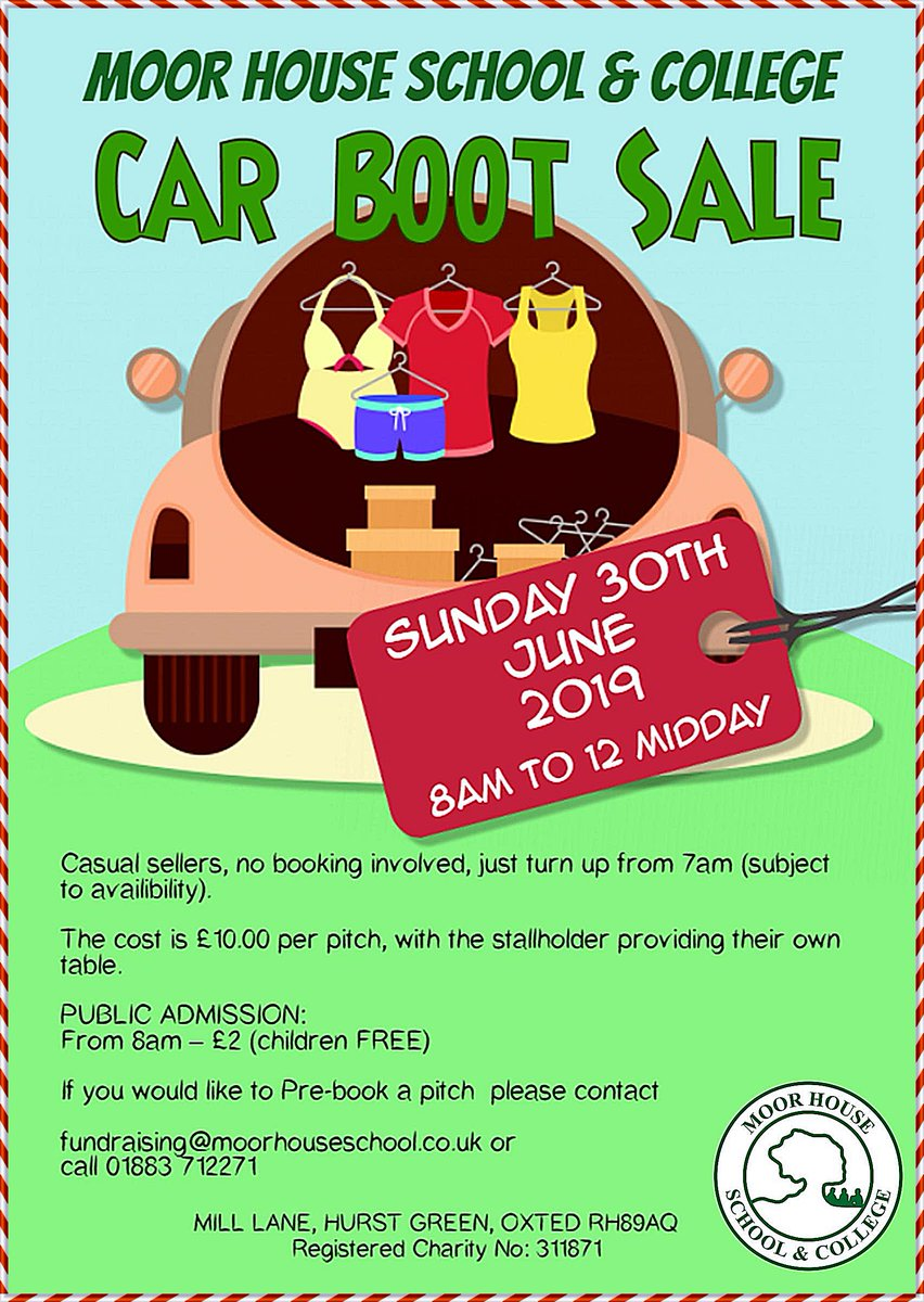 3c4b48095 We are holding a car boot sale at MHSC on Sunday 30th June