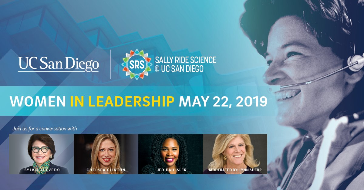 Sally Ride Science's Women in Leadership panel discussion is coming up May 22 @UCSanDiego. Panel includes Girl Scouts CEO @SylviaAcevedo, best-selling author @ChelseaClinton & astrophysicist @JedidahIslerPhD. It's sold out but will be live-streamed. https://go.ucsd.edu/2V9sMij