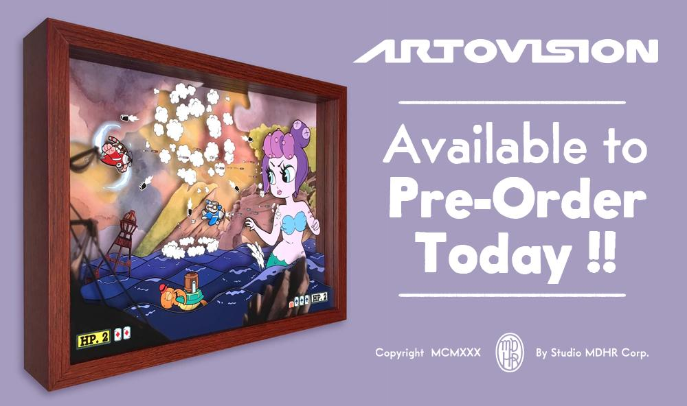 The fine folks at Artovision have brought Cuphead & Mugman's battle against Cala Maria to life in this brand new piece of shadowbox art. Meticulously crafted, and lovingly layered, it's a real high-class bout...frozen in time! Available for pre-order now.  https://artovision3d.com/products/cuphead-cala-maria-shadowbox-art…