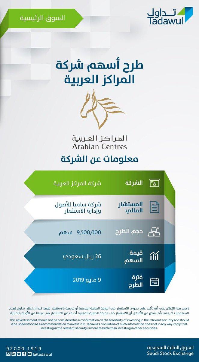 Tadawul تداول On Twitter يبدأ طرح أسهم شركة المراكز العربية في السوق الرئيسية غدا الخميس للأفراد للمزيد من المعلومات Https T Co Zguxu27bxl Https T Co 8b0am7wlfg