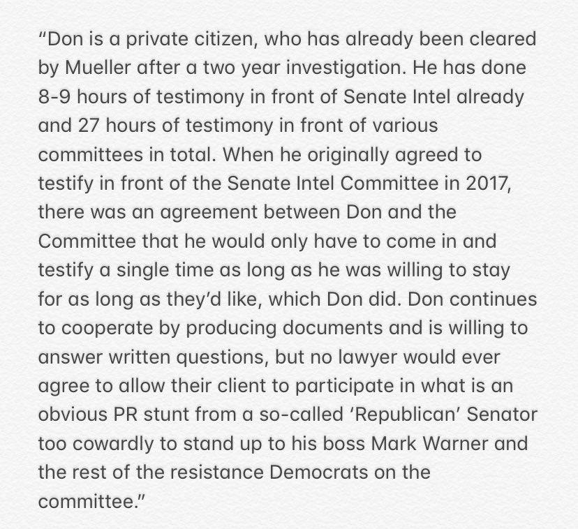 Person close to @DonaldJTrumpJr on the Senate Intel subooena