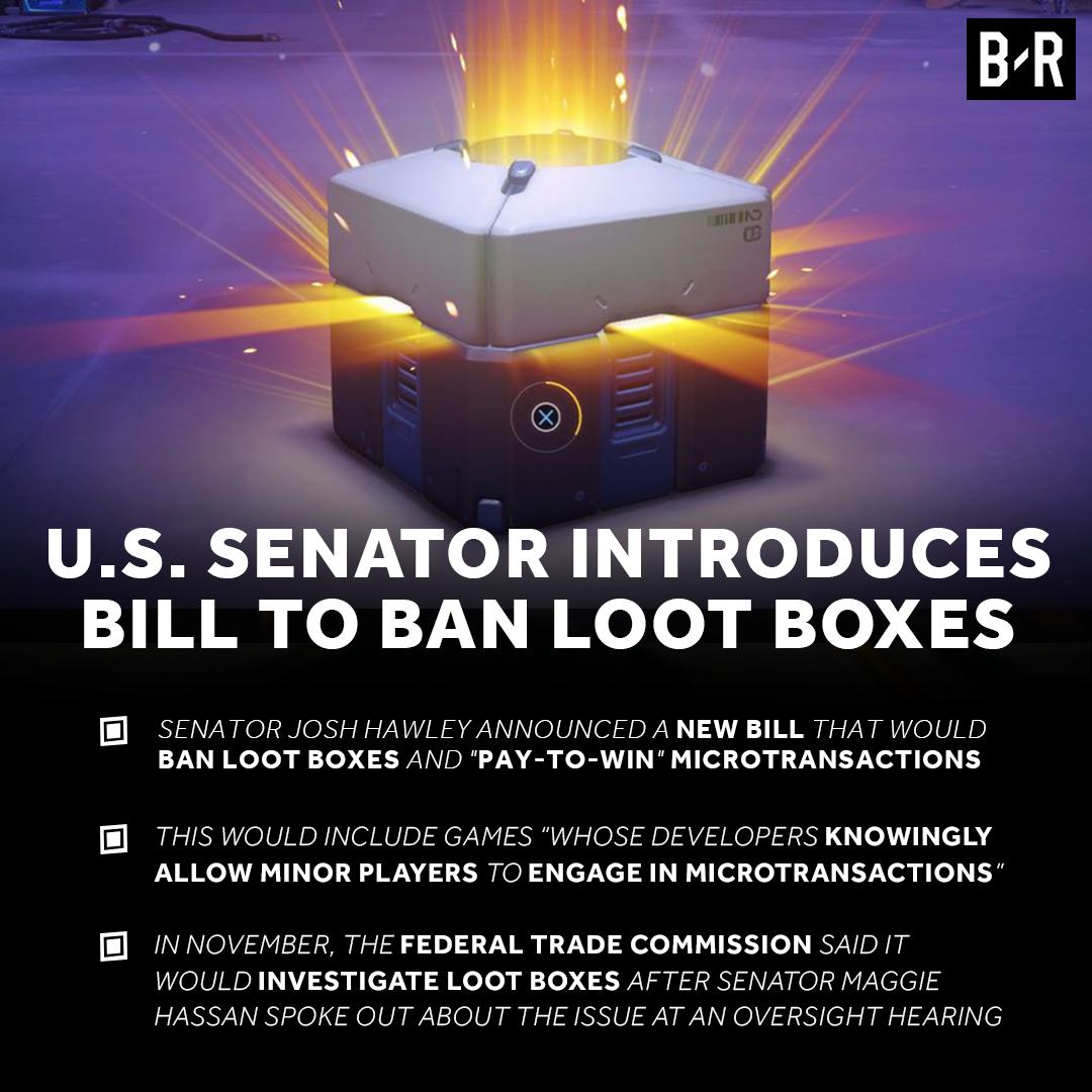 A U.S. senator is introducing a new bill to ban loot boxes in video games.