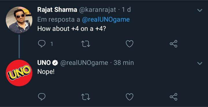 o perfil oficial do uno no twitter disse que não se pode jogar um +4 por cima de outro +4, nem um +4 por cima de um +2 e nem um +2 por cima de outro +2  concluímos aqui que o uno não sabe jogar o próprio jogo