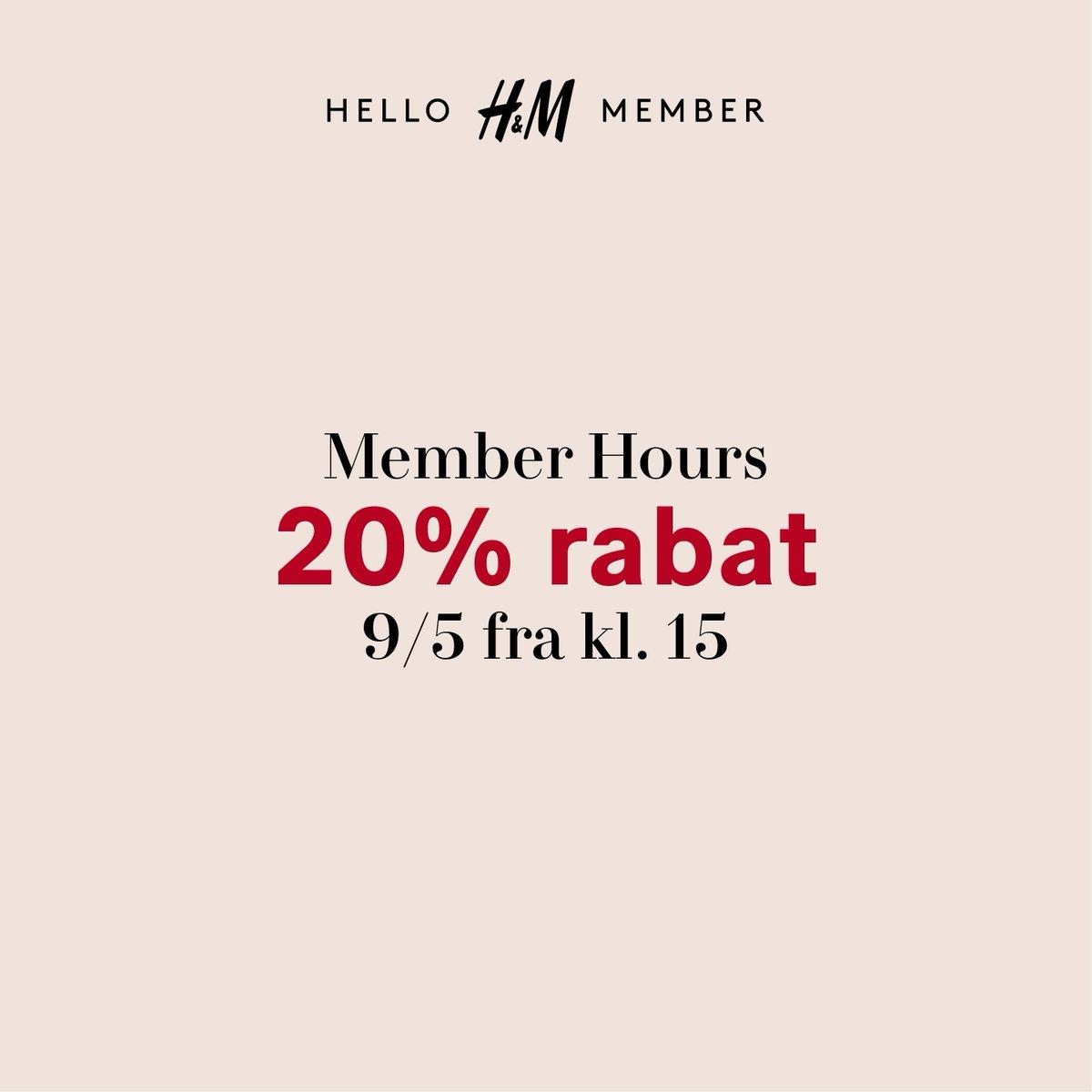 Member Hours i morgen, torsdag d. 9/5 fra kl. 15! Få 20% RABAT på hele dit køb i alle H&M-butikker og online - i butikkerne fra kl. 15 til lukketid og fra kl. 15-21 online. Ikke medlem? Meld dig gratis ind via H&M-appen. Rabatten opnås ved indløsning af reward. #HMMember https://t.co/V5Gar3EIBt