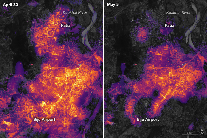 Nasa, BlackOut! Nasa Tweeted Before & After Satelite Images Of BBSR & Cuttack After Fani And We're Worried