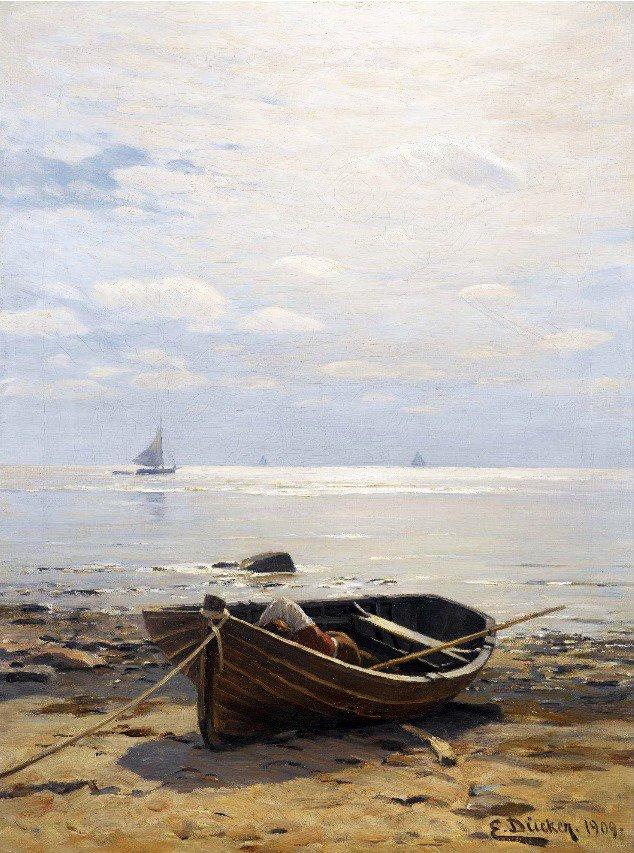 картина с лодками у берега