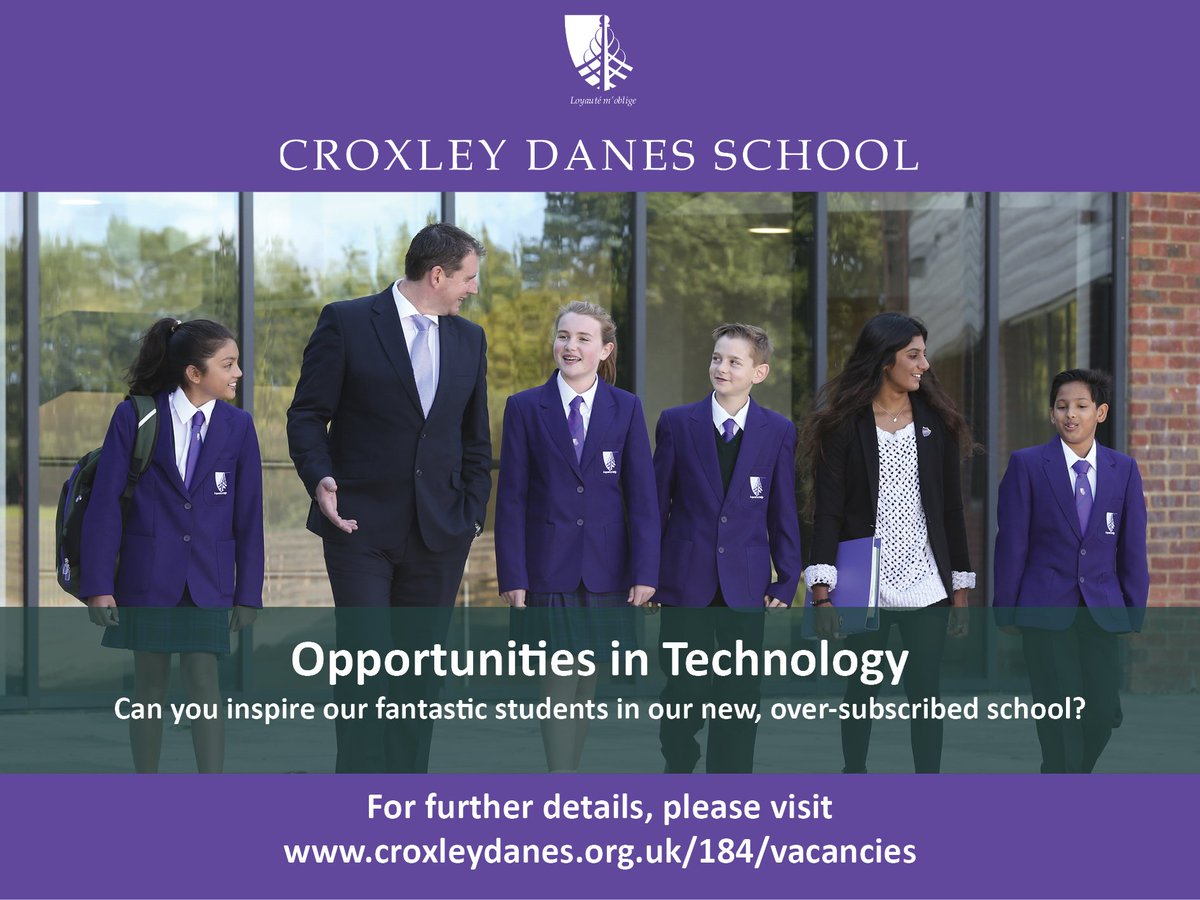 Fantastic opportunities for a technology teacher (FT or PT) and a Subject Leader for Food & Nutrition at our new, oversubscribed school in SW Herts moving into our brand new building next year.  Details: https://t.co/zMcW8tJFjo #teachingvacancyuk https://t.co/eC93EQCGIN