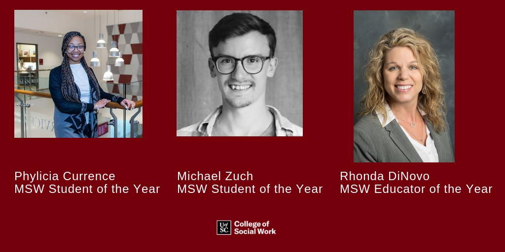 Congratulations to our 2018-2019 MSW Students and Educator of the Year award winners. #socialwork #MSW #uofsc