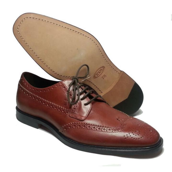 4374849cf30a4f  SALE  TOD S Men Wingtip Brogue Brown Derby  shoes Size 8.5 Made in ...