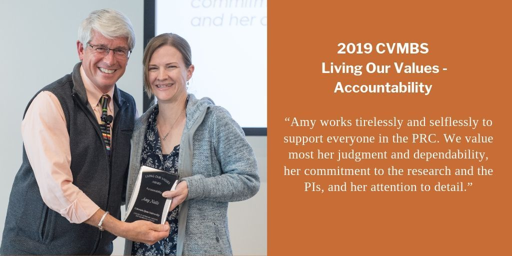 👏 Congratulations to Amy Nalls, laboratory manager in the Edward Hoover & Candace Mathiason labs of the #MIP #PrionResearchCenter, for receiving the 2019 @CSUVetMedBioSci Living Our Values award for #Accountability last week: https://buff.ly/2LwbcW0 . #CSUResearch #PRC #Prions