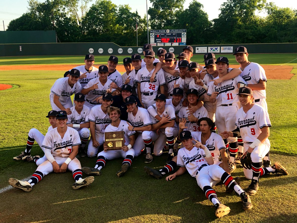Farragut baseball wins the district championship game, 10-1 over Hardin Valley.