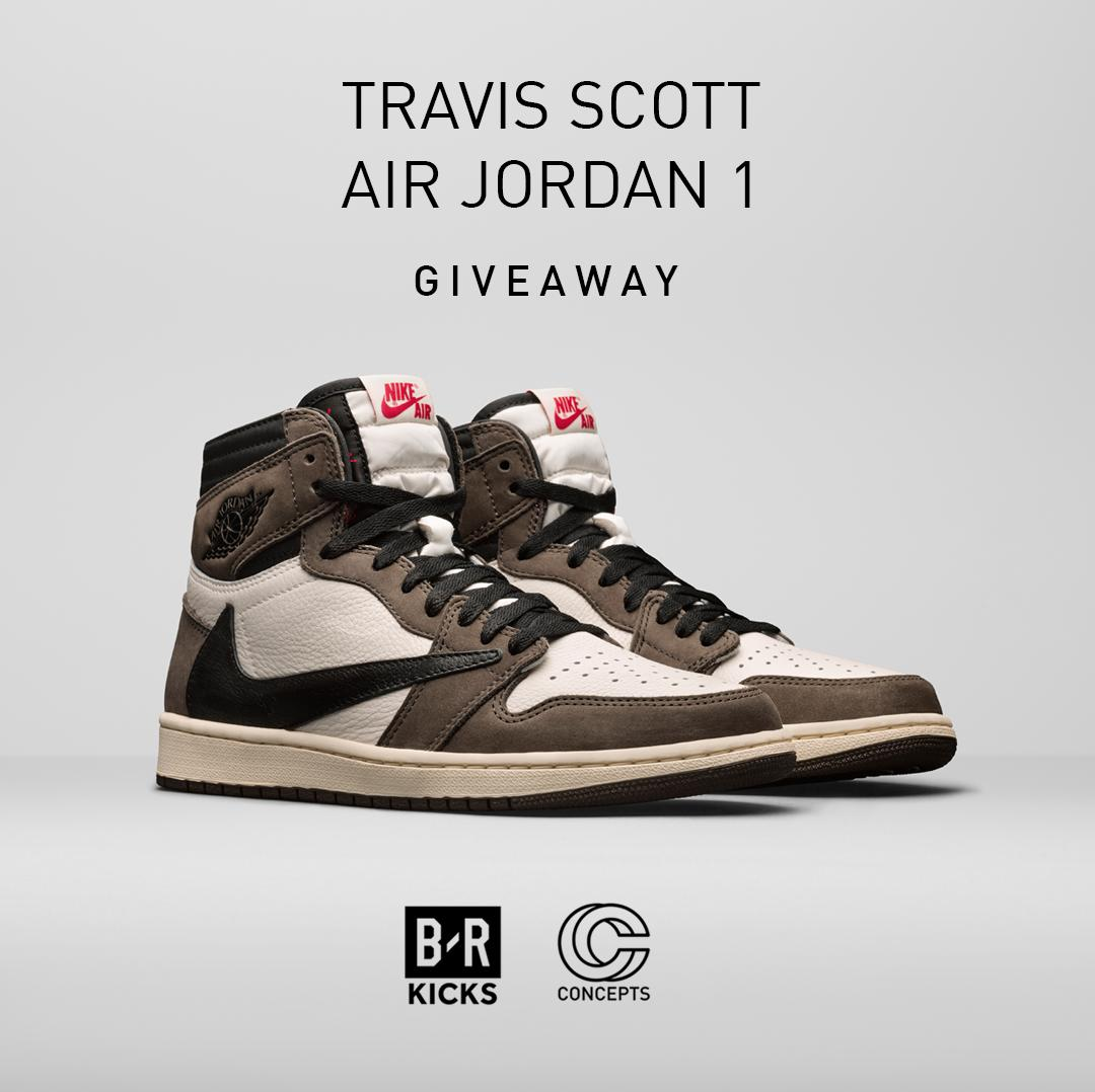 competitive price 89b6b e33bc ... Travis Scott x Air Jordan 1. How to enter  1. Follow  BRKicks and   CNCPTS 2. RT this tweet 3. Reply with your size Good luck.