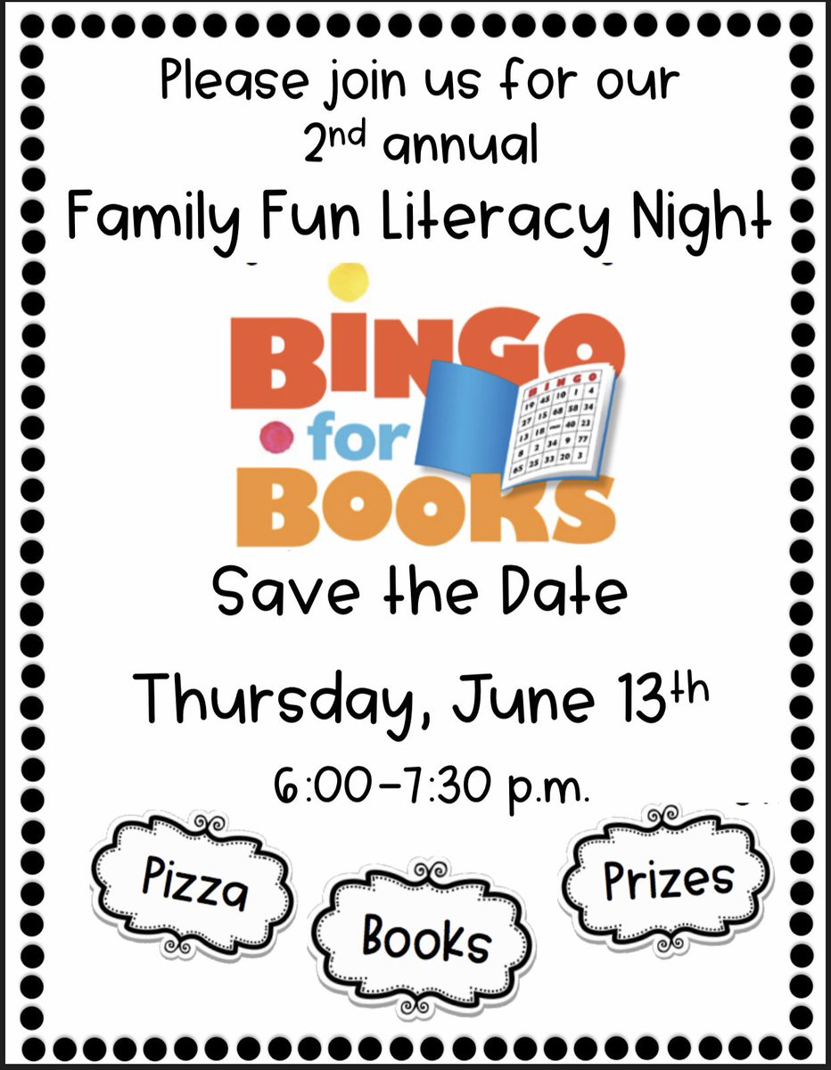 #BingoForBooks is coming soon to @WoodcrestES!  Save the date for a night of bingo, pizza, books, and other prizes.<br>http://pic.twitter.com/DnJ27JdCeN
