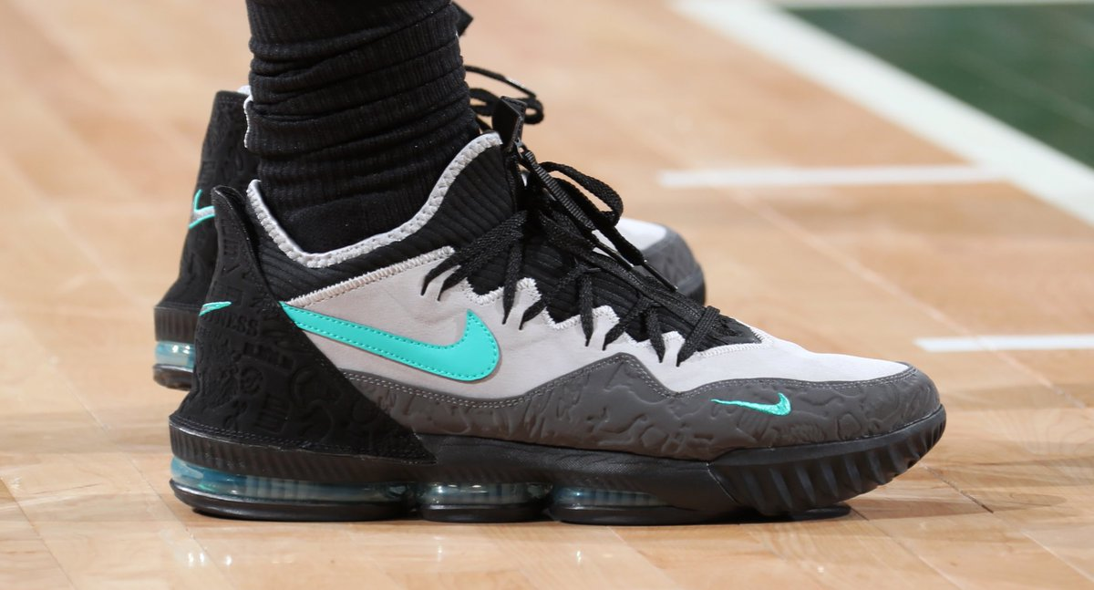 """half off 70054 ff89f MookMorris2 laced up the Atmos x Nike LeBron 16 Low """"Clear Jade"""" for Game  5. 📸   natlyphoto…"""