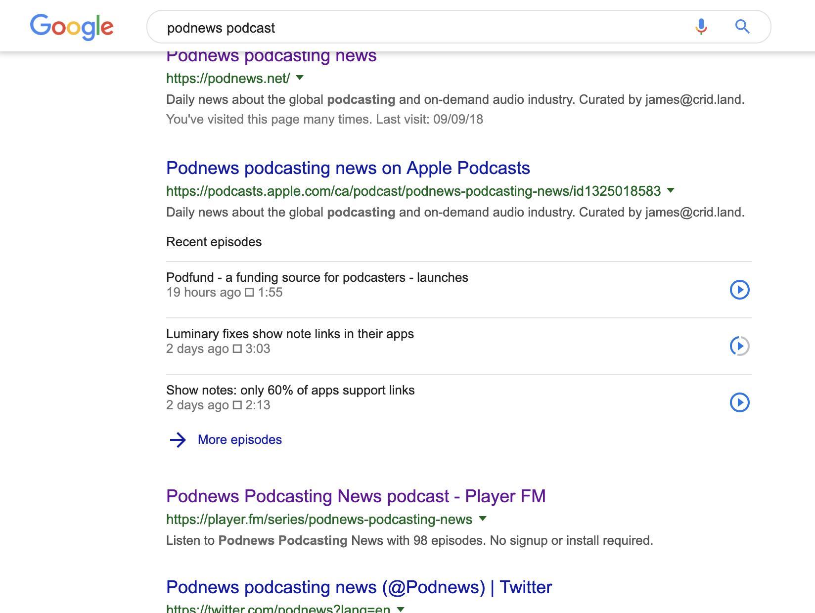 Podnews podcasting news on Twitter: