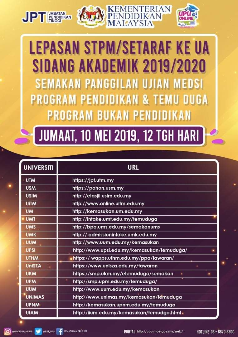 Upsi Malaysia On Twitter Perhatian Semakan Panggilan Ujian Medsi Program Pendidikan Temu Duga Program Bukan Pendidikan Bagi Lepasan Stpm Setaraf Sesi Akademik 2019 2020 Boleh Disemak Esok 10 Mei 2019 Jumaat Pada