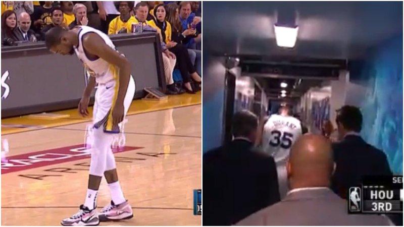【影片】突發!杜蘭特非對抗情況下受傷離場,疑似與Kobe跟腱受傷類似!