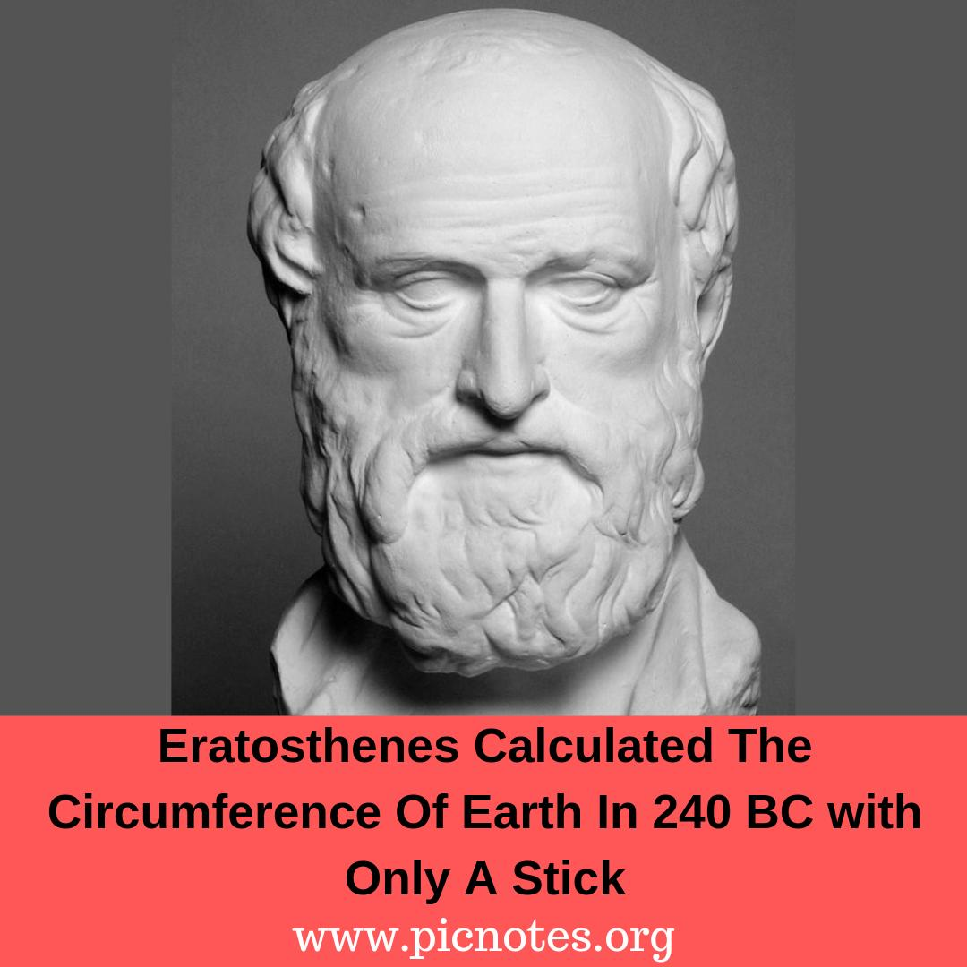 Eratosthenes of Cyrene was a Greek mathematician, geographer, poet, astronomer, and music theorist who calculated the circumference of Earth in 240 BC: http://www.picnotes.org/notes/236   #GreekMathematician #geographer #astronomer #circumferenceofearth #earthcircumference #eratosthenespic.twitter.com/uXkNRmAQGy