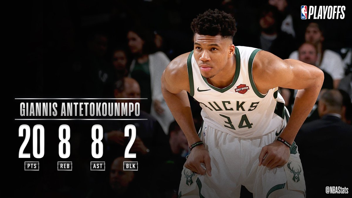 Giannis Antetokounmpo puts up 20 PTS, 8 REB, 8 AST, helping the @Bucks win Game 5 and advance to the Conference Finals! #SAPStatLineOfTheNight <br>http://pic.twitter.com/dMu0Ysv01l