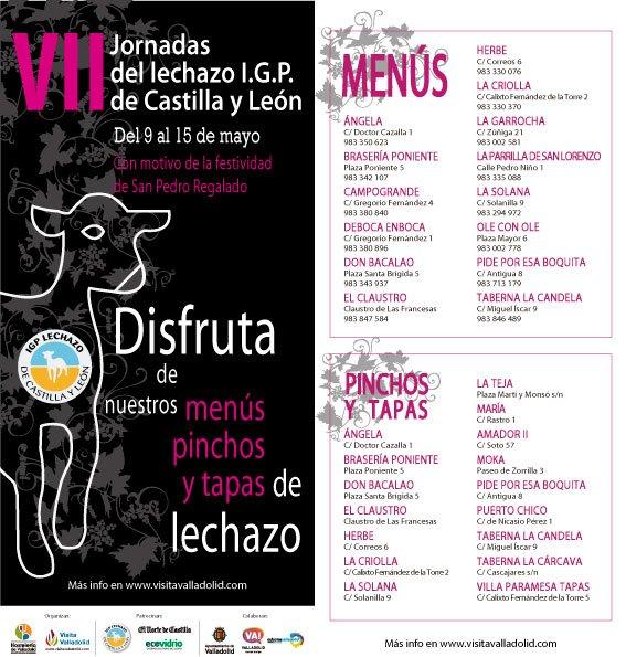 Jornadas del Lechazo San Pedro Regalado, del 9 al 15 de Mayo en Valladolid @ANGELARESTAURAN @RteCampoGrande @DonBacalaoRte @LaGarrocha @OleconOleVallad @LaCandela_Vall @2Amador