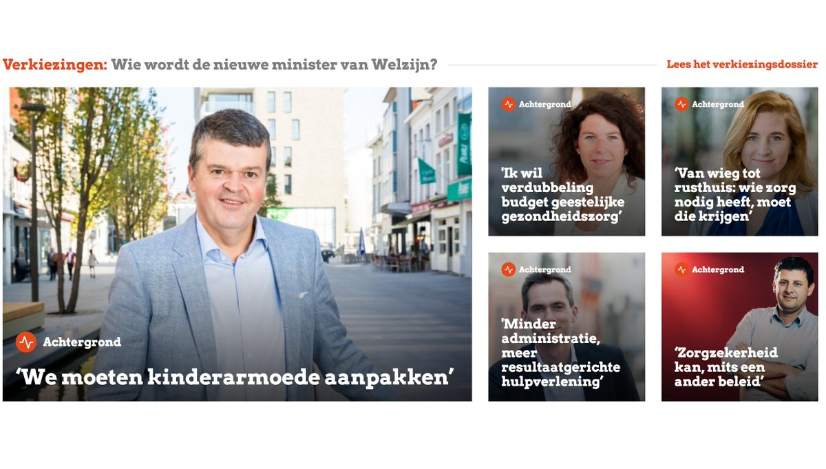 Wie wordt de nieuwe welzijnsminister? @_sociaalnet peilde bij vijf kopstukken naar hun prioriteiten. @openvld @groen @de_NVA @sp_a @cdenv #stem2019 #vk19 #kies19 /1