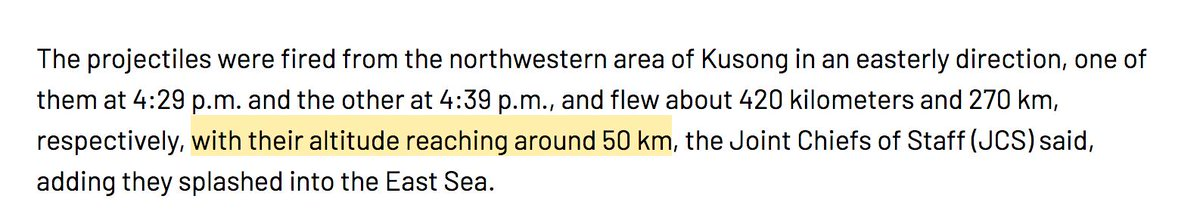 Initial reports put the apogee of the DPRK missiles at 50 km.  That is too low for a ballistic trajectory at either stated ranges on a minimum energy trajectory.