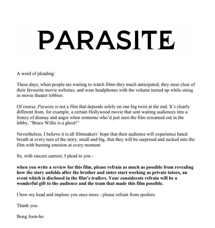 Jenny Jecke On Twitter Bong Joon Ho Hat Vor Der Cannes Premiere Von Parasite Einen Brief An Die Presse Geschrieben