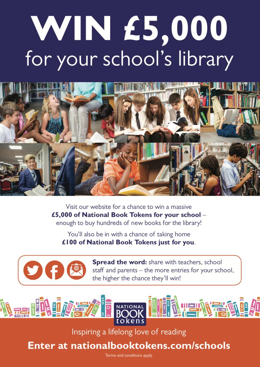 Does your child love reading? 📚 Nominate our school to win £5000 to spend on books for our school library! You could also win £100 National Book Tokens for you! nationalbooktokens.com/schools#.faceb… Help us spread the word by liking and sharing the link with friends and family!