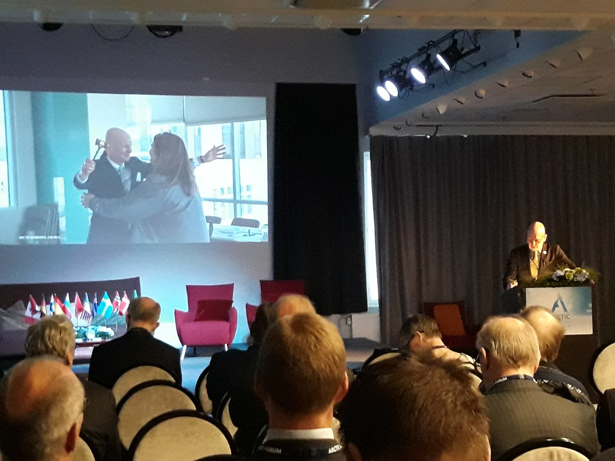 Mr @Tvaurast sharing results of Finnish Chairmanship @ArcticEcom  at #ABF2019. AEC has strengthened its status in #Arctic cooperation. MoU with @ArcticCouncil and @UArctic as examples.