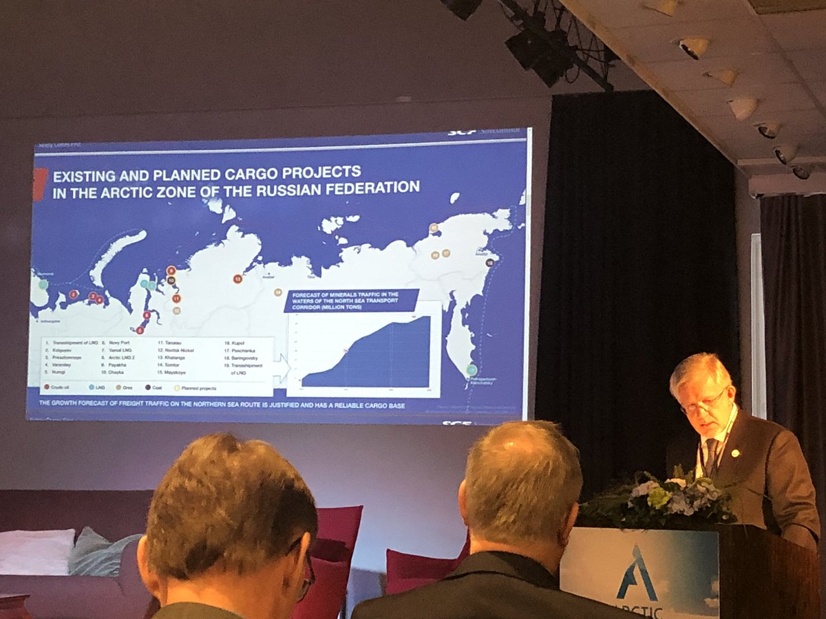 Mr Ambrosov, AEC vice chair presents existing and planned cargo projects in the Arctic zone of the Russian Federation at the @ArcticBusinessF #yamal #nsr