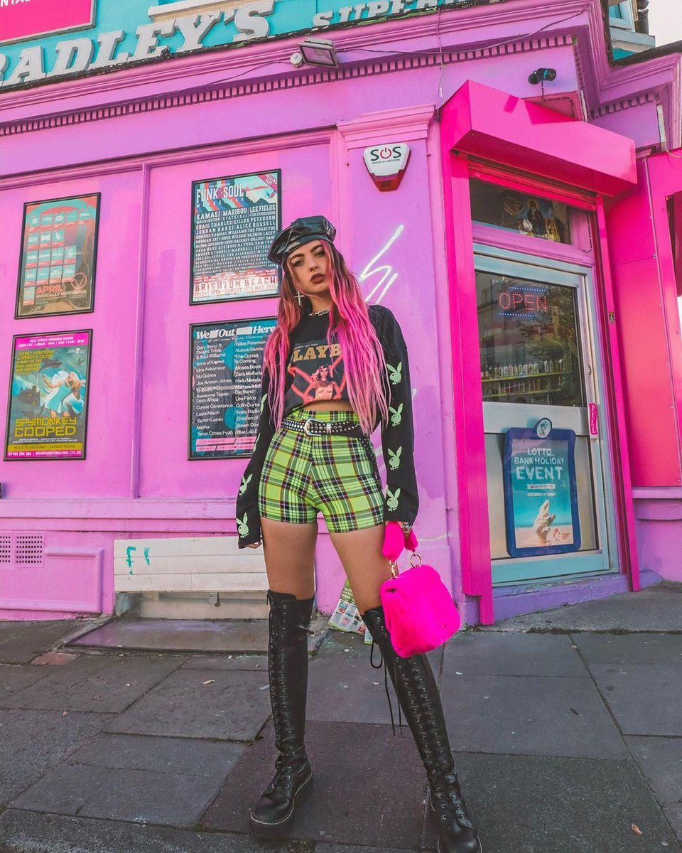 d9970786f29 stand out from the crowd get s playboy x missguided black magazine print  neon bunny t