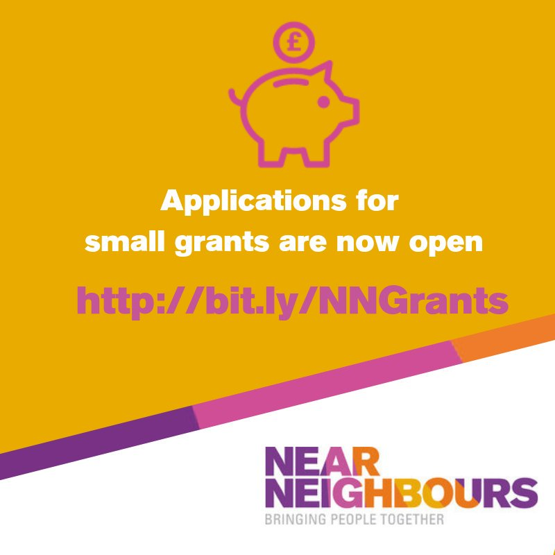 We offer small #grants (between £250 and £5,000) to local groups and organisations working to bring together neighbours and to improve their communities. More info and application documents http://bit.ly/NNGrants. Please contact the area coordinator before applying.