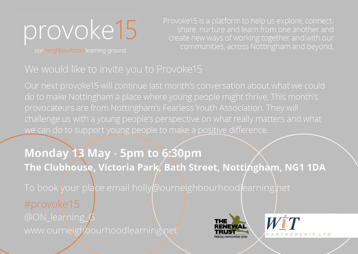 Don't forget this month's #provoke15 on Mon 13 May, 5pm-6:30pm. Join us at The Clubhouse on Victoria Park for a conversation with @FYA_Notts about what we can do to make #Nottingham a place where young people thrive http://bit.ly/2JapOb9