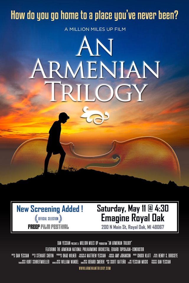 "Take 2! If you missed the initial premiere of ""An Armenian Trilogy"" at the Emagine Theater in #RoyalOak, the new screening date is this Saturday, May 11, at 4:30 p.m. Get tickets at https://t.co/KfDRvEKL90 @ArmenianTrilogy @DanYessian @Freep_Film_Fest #FilmFestival #Detroit https://t.co/aWVlFStPrY"