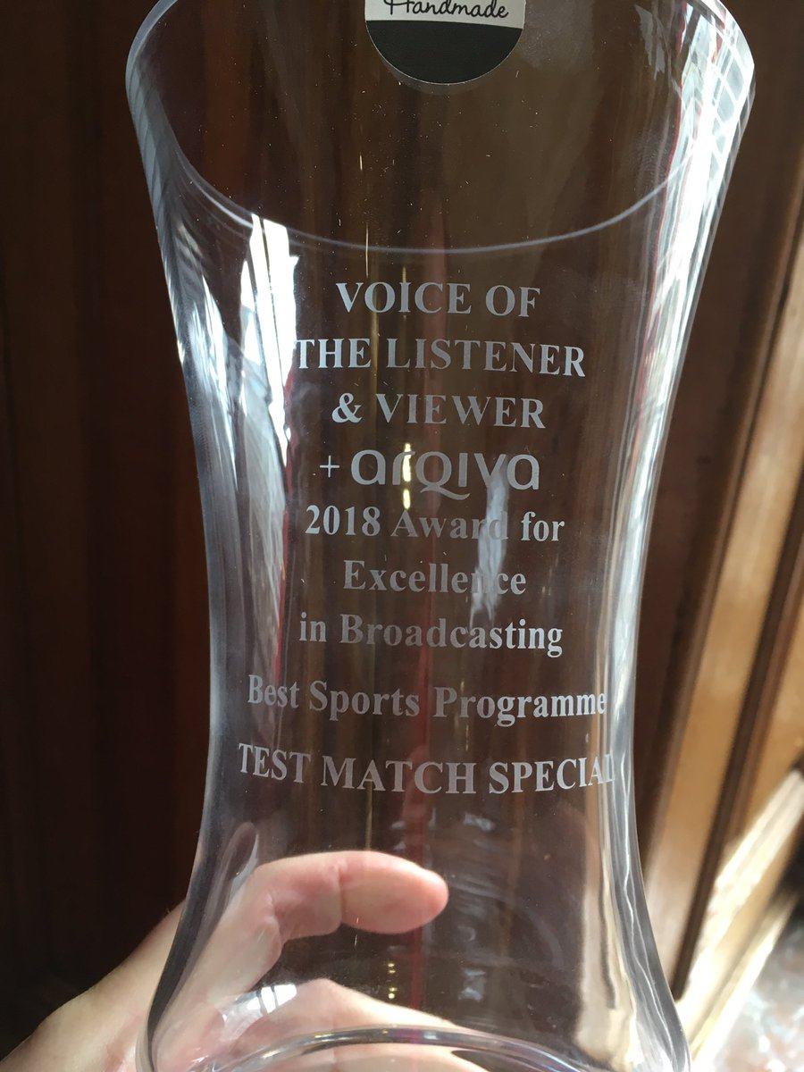 Wow!We weren't expecting to win in a category as strong as this! An honour for @bbctms to be even nominated among all these amazing programmes, let alone come away with a prize. Thanks to @vlvuk for inviting us & thanks to everyone who listens & who voted. #bbccricket