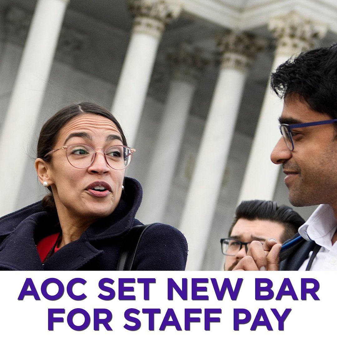 @AOC will pay entry-level staffers a minimum of $52,000 per year. https://yhoo.it/2H9h822
