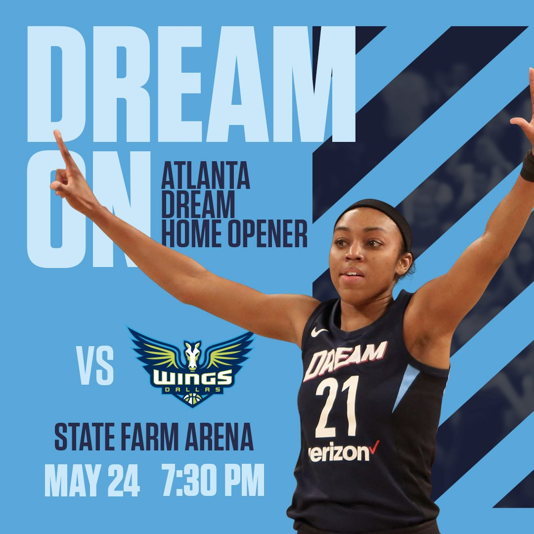 Let's go #Atlanta! Be at  @StateFarmArena for our HOME OPENER on May 24. Watch @Da20one make it 🌧  🎫 https://dreamatl.net/2DLsic7