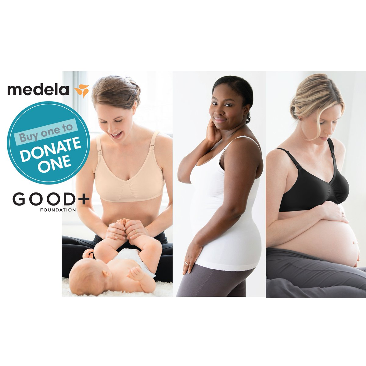 69ad901c24a77 To celebrate Mother's Day, during May @Medela_US will donate one T-shirt bra,  comfort bra or maternity & nursing tank to GOOD+ for each one purchased  from ...