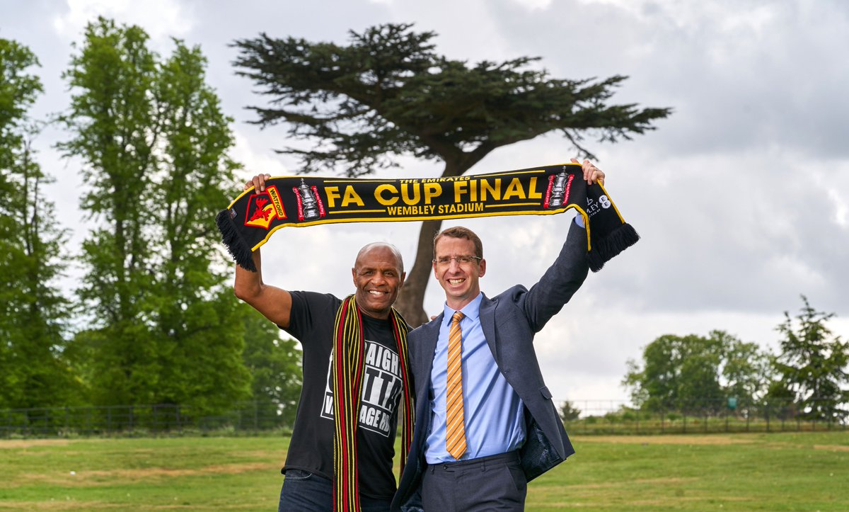The mayor was joined by Luther Blisset in Cassiobury Park to announce that watford will be hosting a free Big Screen for WatfordFC fans who can't make it Wembley to watch.