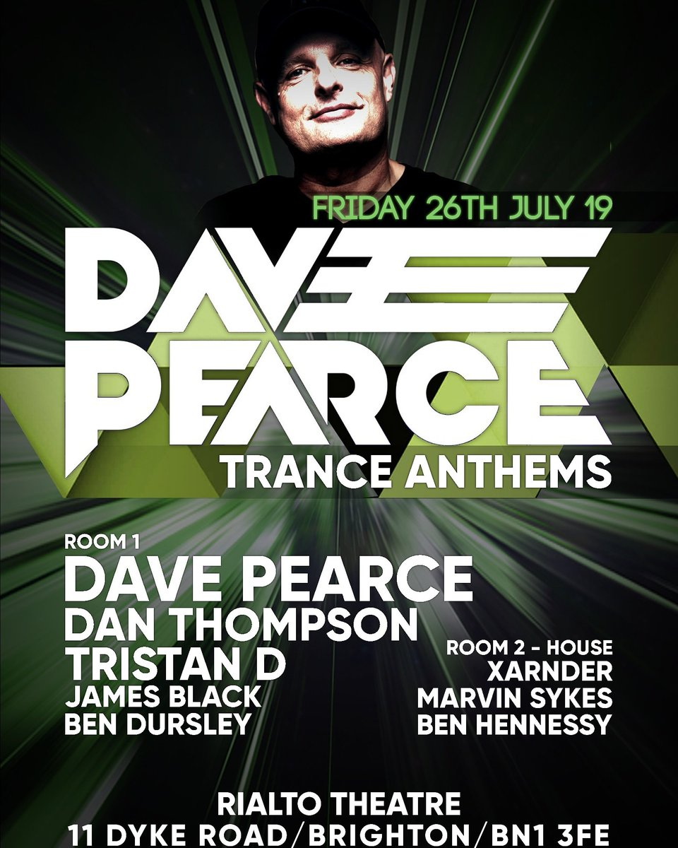 Very much looking forward to supporting Dave Pearce's Trance Anthems event in Brighton on the 26th of July along side Tristan J Dorian James Black & Ben Transcend Dursley plus many more! 🙌🙌🎉🙌🙌 Tickets now available http://www.rialtotheatre.co.uk/whats-on/music-events/dave-pearce …  https://www.facebook.com/events/989053287966399/?ti=as …